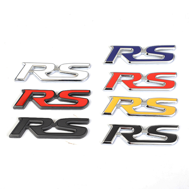 3D Metal Sticker Car Front Grill Body RS Words Logo Badge Emblem Applique For Ford Focus 2 3 Fiesta Ranger Fusion Mondeo Mk2