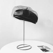 Новый увлекательный черный зимняя шапка шикарный кожаный французский береты с вуалью сетки показать мода двойной слой теплые женские шапочки