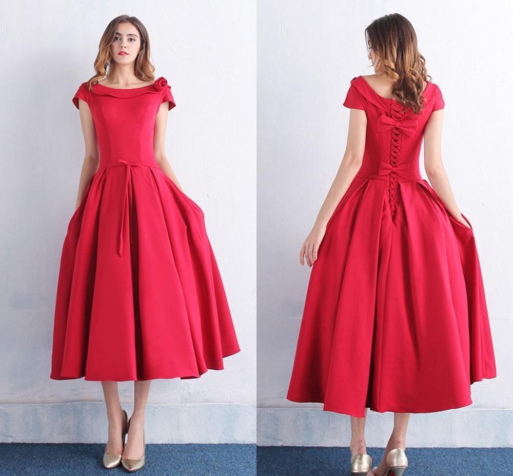 Hot Sale Scoop Bowknot Pockets Tea-Length   Prom     Dresses   Vestidos de Festa Elegant Women Evening Party   Dress