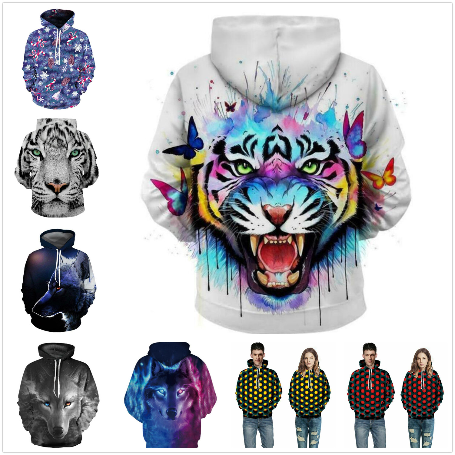Roaring Big Tongue Blue Wolf Print Mens Hooded Sweatshirt