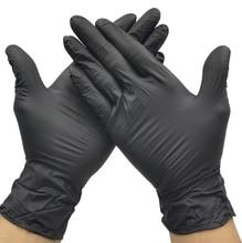 Черные одноразовые нитриловые перчатки, защитные рабочие перчатки, чистящие перчатки в коробке, 100 шт. для использования в помещении, рабочем месте, промышленного использования
