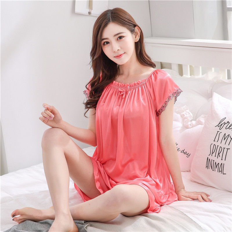 Summer Silk Pajamas Plus-sized Size Short Sleeve Summer Thin WOMEN'S Casual Women's Viscose Set