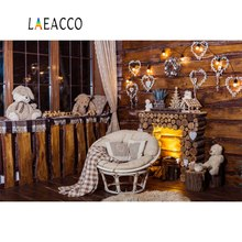 Laeacco Photo Backdrops Christmas Fireplace Teddy Bear Chair Carpet Light Interior Photographic Backgrounds Photocall Stud