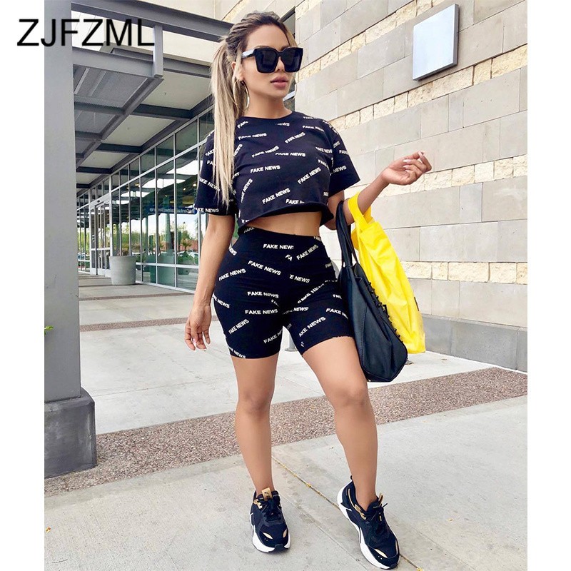 Letter Printed Causal 2 Pcs Summer Outfits For Women Round Neck Short Sleeve Crop Tops And Skinny Biker Shorts Suit Track Suit