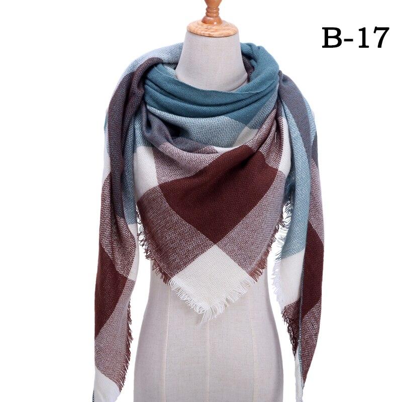 Женский зимний шарф в ретро стиле, кашемировые вязаные пашмины шали, женские мягкие треугольные шарфы, бандана, теплое одеяло, новинка - Цвет: bb17