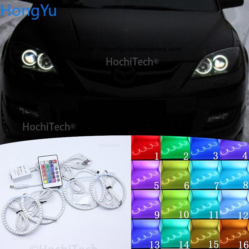 For  Mazda 3 mazda3 2002 2003 2004 2005 2006 2007 Multi-color Led Angel Eyes Kit RGB Halo Rings Daytime Light DRL