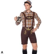 Men Oktoberfest Set Cosplay Waiter Bavarian Traditional Suits Plaid Shirts Suspender Pants+ Cap Clothes Beer Festival Costume