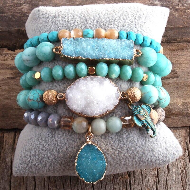 RH New Designer Boho Beaded Bracelet Set Natural Stone & Druzy 5pc Bracelets Bangles Set For Fashion Jewelry