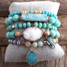 RH – ensemble de Bracelets de perles en pierre naturelle et Druzy, style Boho, pour bijoux à la mode, 5 pièces
