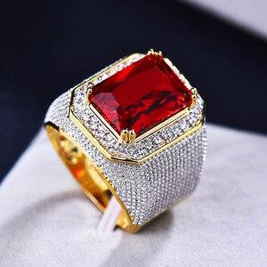 Image 3 - Bague Ringen Luxury 100% เงินสเตอร์ลิงแหวนรูปสี่เหลี่ยมผืนผ้าทับทิมอัญมณี Charm แหวนเงินชายเครื่องประดับของขวัญขายส่ง