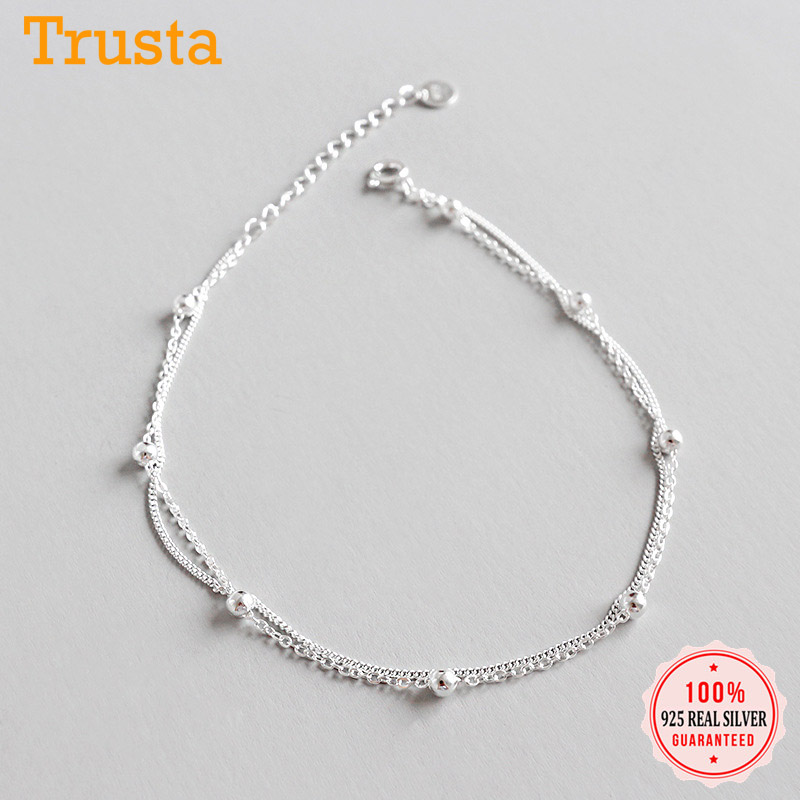 Trustdavis Authentic 925 Sterling Silver Fashion Double Layer Beads Bracelet Anklets For Women Wedding Silver 925 Jewelry DS2411