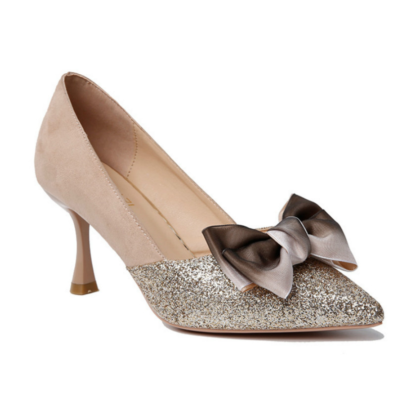 2019 Shallow Bow Women shoes Sexy High Heels Bling Ladies Shoes Sequin Wedding Shoes Female Work Shoes K3-63