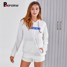 BEFORW 2019 New Letter Print Harajuku Hoodies Fall Women Long Sleeve Pocket Hooded Drawstring Tops White Casual White Hoodie black and white colour matching drawstring hooded hoodie