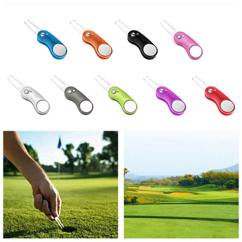 Golf Divot Tool Foldable With Magnetic Ball Marker Detachable For Golfers Switchblade 1PC golfers pen set with clock