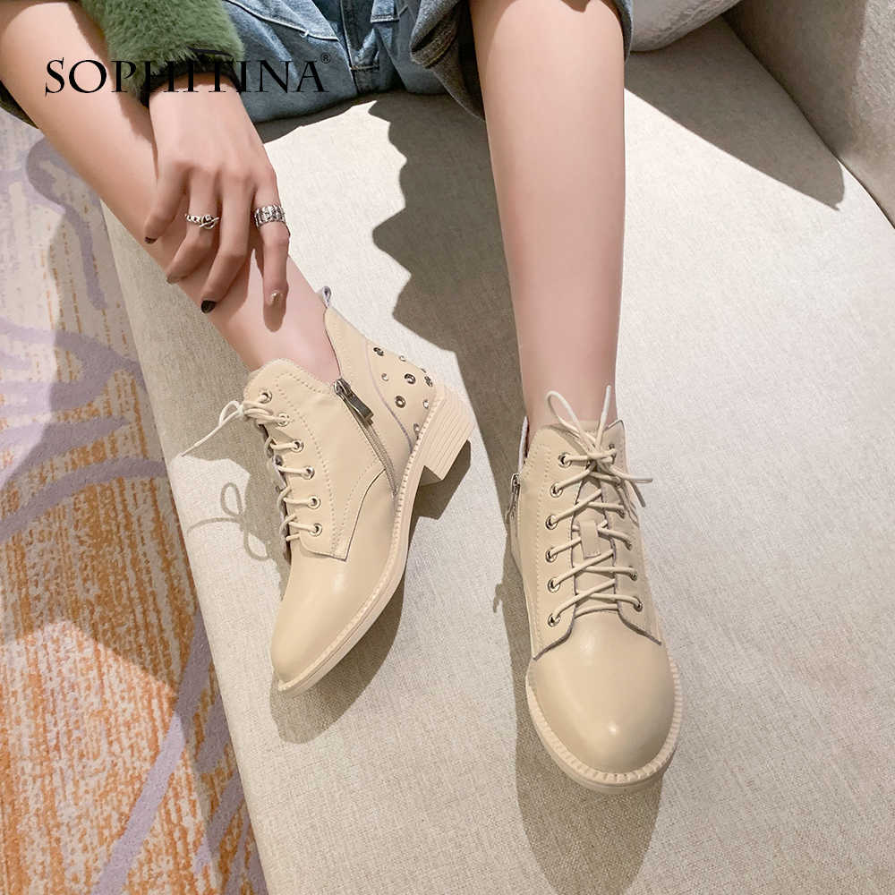 SOPHITINA Alien Boots Microfiber Pointed Toe Square heel Understated Elegance Punk Style Shoes Lace Domineering Boots  MO311