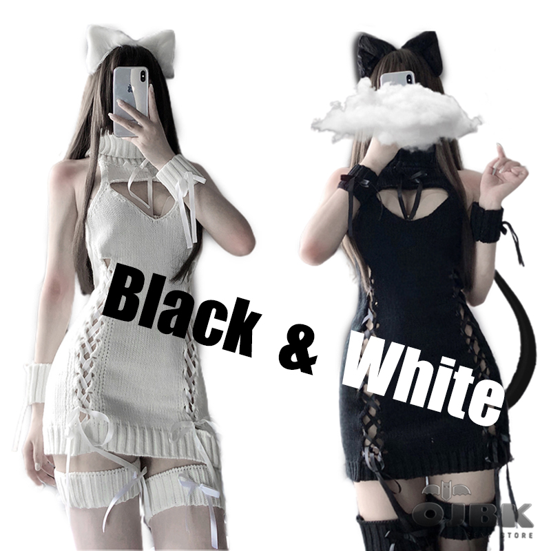 OJBK Anime Cat Cosplay Costumes Sexy Sweater Open Chest Back Hollow Ribbon Strap Top White Sheep Kitty 2020 New Arrival Dropship
