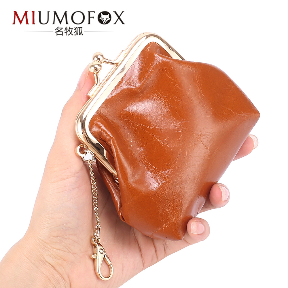 Europe And America Retro First Layer Oil Wax Cattle Leather Wallet Mouth Purse Women's INS Small Earphone Coin Bag Storgage Bag