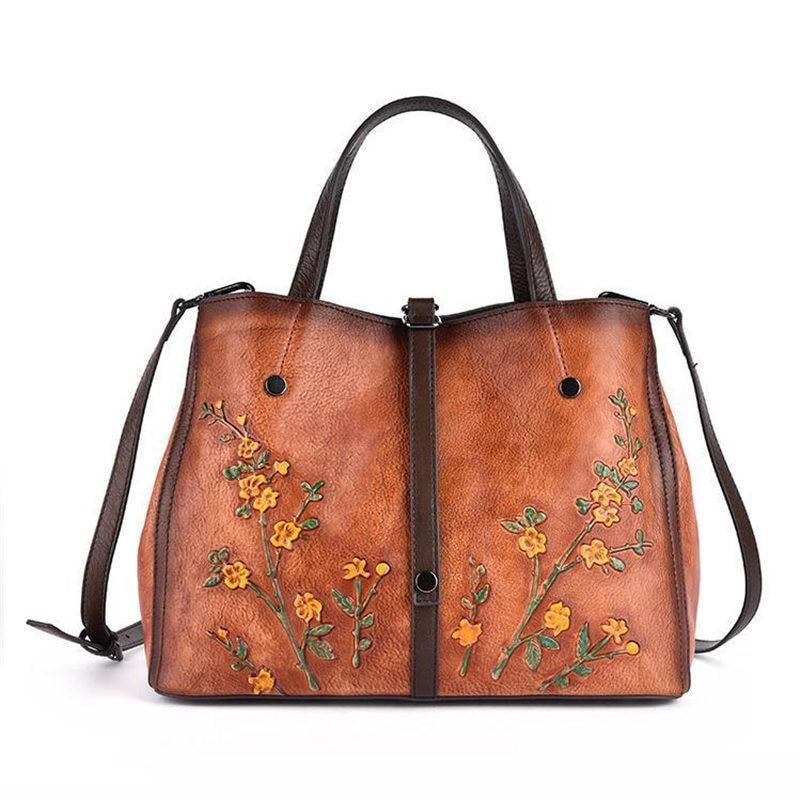 Vintage Fashion Black Brown Yellow Genuine Leather Women Handbags Female Shoulder Messenger Bags Tote M158
