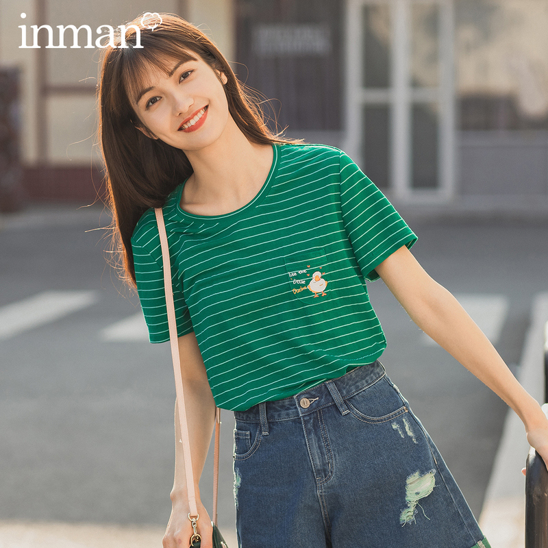 INMAN 2020 Summer New Arrival Stripped Fit Body Cute Embroidery Pattern T Shirt