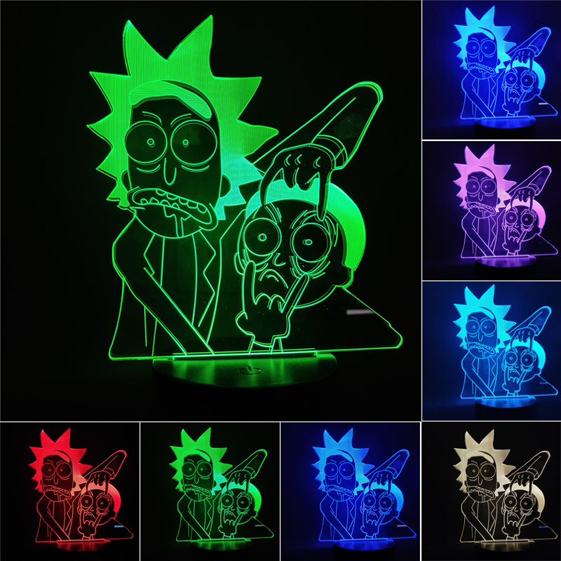 Rick And Morty 3D LED Night Light 7 Color Changing Lamp Room Decoration Action Figure Toy Model Toy For Birthday Christmas Gift