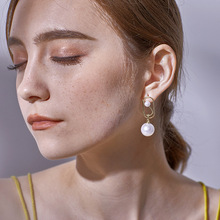 [ALFOU] 2 piece Brand high quality pearl earrings White Drop Earrings Gold alloy 11mm*40mm womens jewelry
