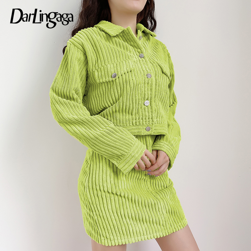 Darlingaga Fashion Autumn Winter Corduroy Two Piece Set Women Outfits Cropped Jacket Coat And Skirt Matching Sets Solid Clothing