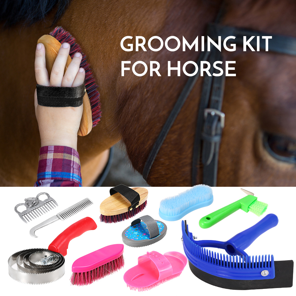 New 10-IN-1 Horse Grooming Tool Set Cleaning Kit Mane Tail Comb Massage Curry Brush Sweat Scraper Hoof Pick Curry Comb Scrubber