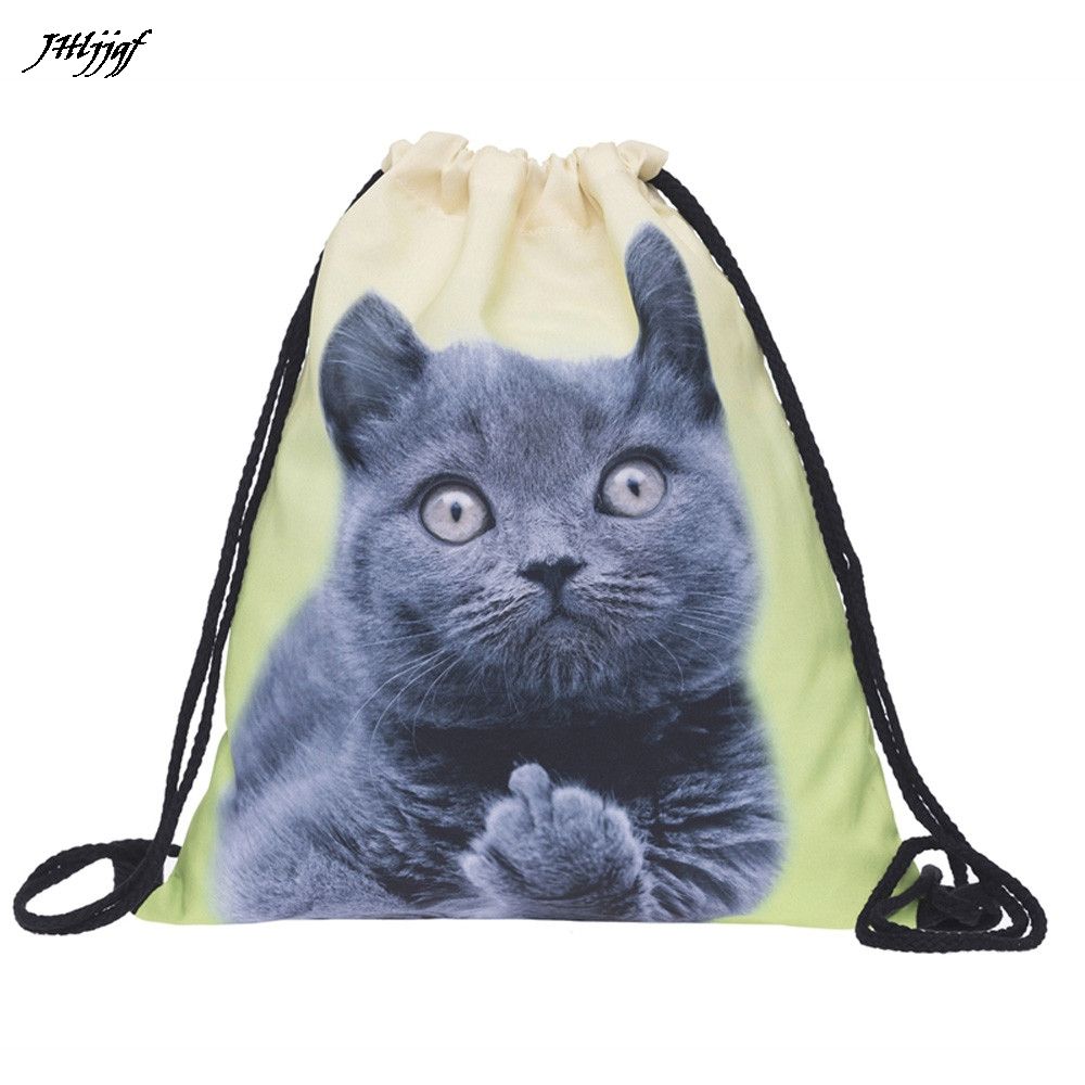 Polyester Drawstring Bags Unisex Backpacks 3D Printing Bags Drawstring Backpack Sport Beach Travel Outdoor Backpack Bags