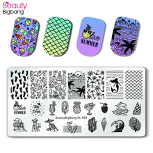 BeautyBigBang Stamping Plate For Nails Vintage Sea Mermaid Geometry Nail Art Accessories Mold Polish Template