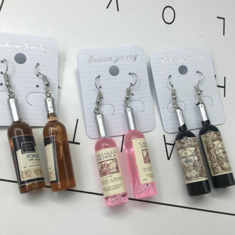Creative Wine Bottle Pendant Dangle Earrings Fashion Woman Glass Cocktail Red Wine Earrings
