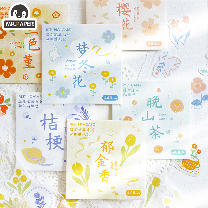 Mr.paper 6 Designs Tulip Flower Flos Farfarae Pocket Decorative Style Stickers Cute Natural Season Gift Children Stickers