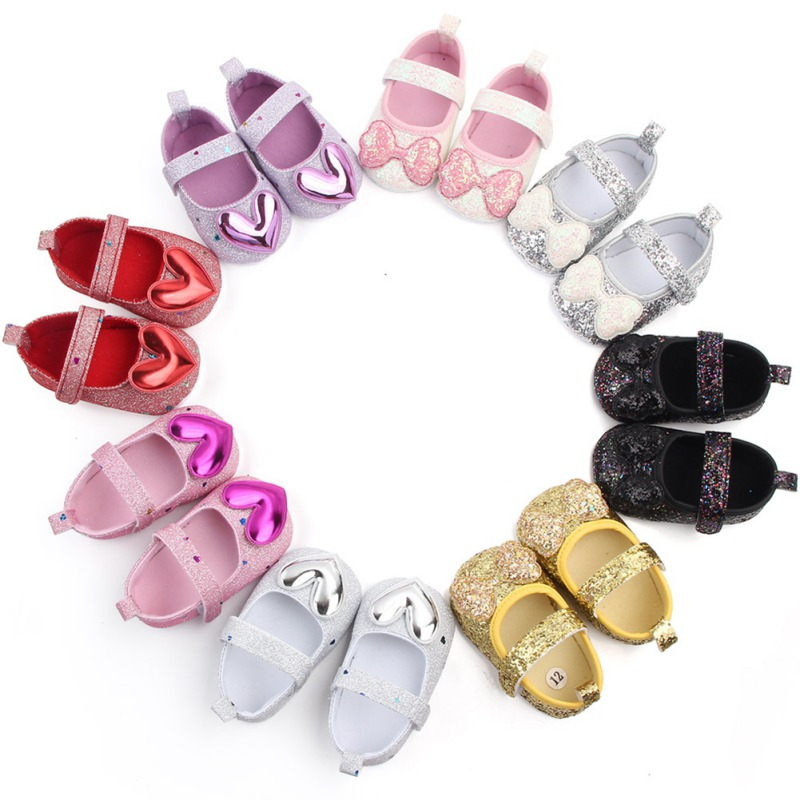 Autumn Baby Girl Anti-Slip Casual Walking Shoes Sequin Bow Blingbling Princess Shoes Soft Soled First Walkers Vestidos Shoes