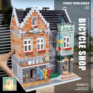 Image 3 - 15034 streetview建物のおもちゃとcompaitble 10004 mocバイクショップモデルビルディングブロック組立レンガキッズ子供のクリスマスプレゼント