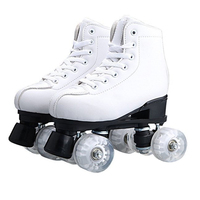 Adult PU Leather Quad Roller Skates Double Line Skates Two Line Skating Shoes Patines With Flashing or not PU Wheels