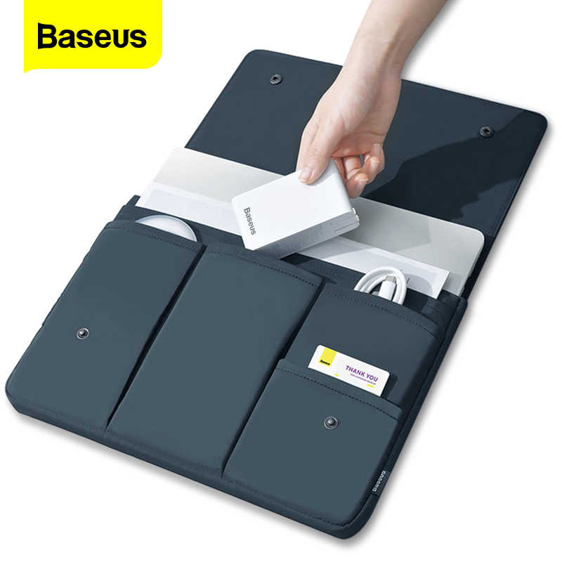Baseus saco do portátil caso para macbook ar pro 13 14 15 15.6 16 Polegada manga bolsa para mac notebook ipad pro tablet capa coque funda