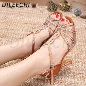 Image 5 - Dileechi sapatos de dança latina, mulheres sapatos de dança festa cetim malha brilhante strass salsa sandálias de dança 9cm