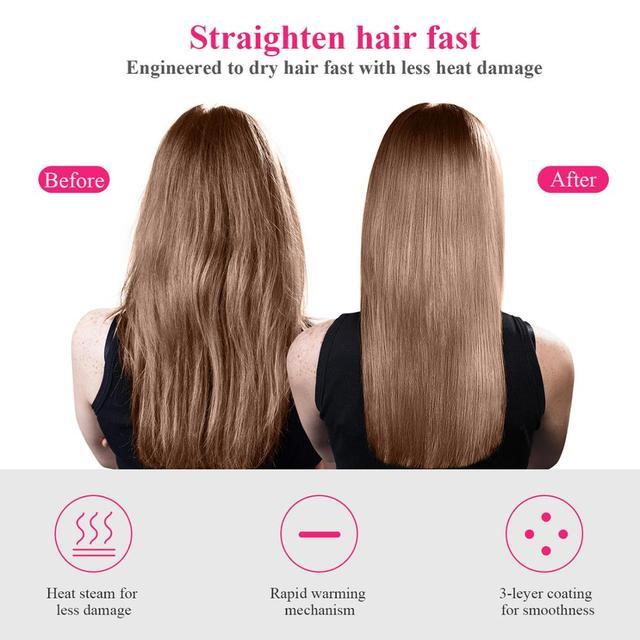1000W Hair Dryer Hot Air Brush Styler and Volumizer Hair Straightener Curler Comb Roller One Step