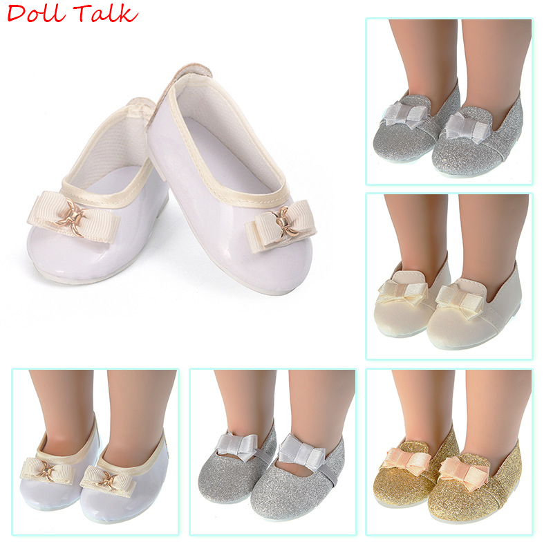 New Bow-knot Doll Shoes 43cm MIni Cute Pu Leather Shoes Fit 18inch American Baby Doll Fit New Born Doll 1/3 BJD Toy Accessories(China)