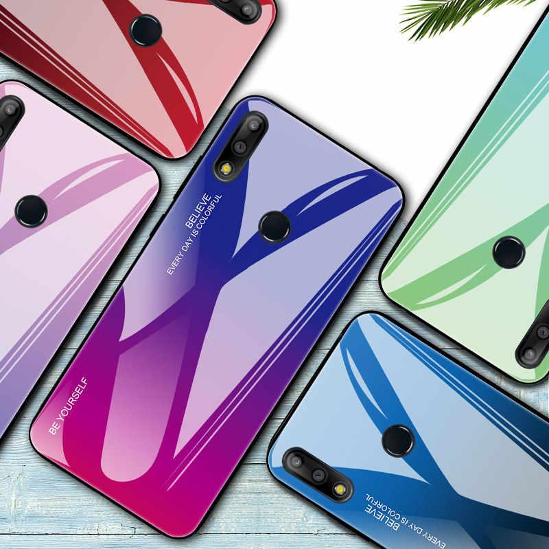 Temperli cam asus kılıfı Zenfone Max M2 ZB633KL ZB631KL Pro M1 ZB601KL telefon geri yumuşak kenar koruyucu degrade durumda