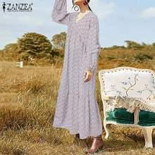 Moda feminina impresso vestido de verão zanzea 2021 primavera maxi vestido casual puff manga comprida vestidos femininos robe flroal plus size