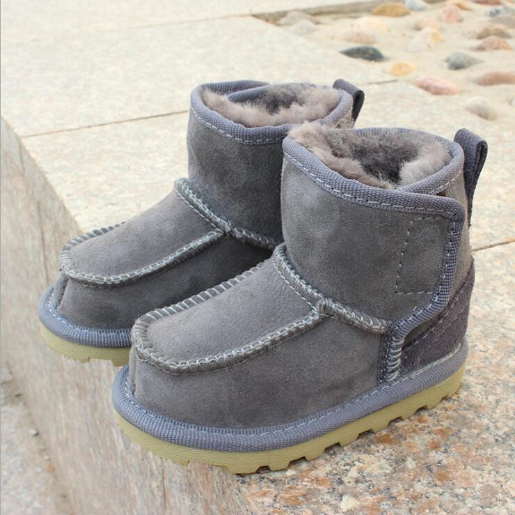 Geanuine Leather Australia Shoes Baby Snow Boots For Boys And Girls Kids Snow Boots Sheepskin Real Fur Shoes Children 2019 New
