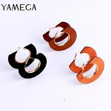 Yamega этнические геометрические большие деревянные серьги для