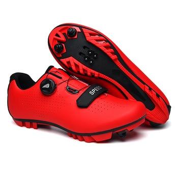 Fibra de carbono homem ciclismo sapato respirável triathlon mountain bike sapatos homem esporte corrida estrada snaeker spin fivela 1