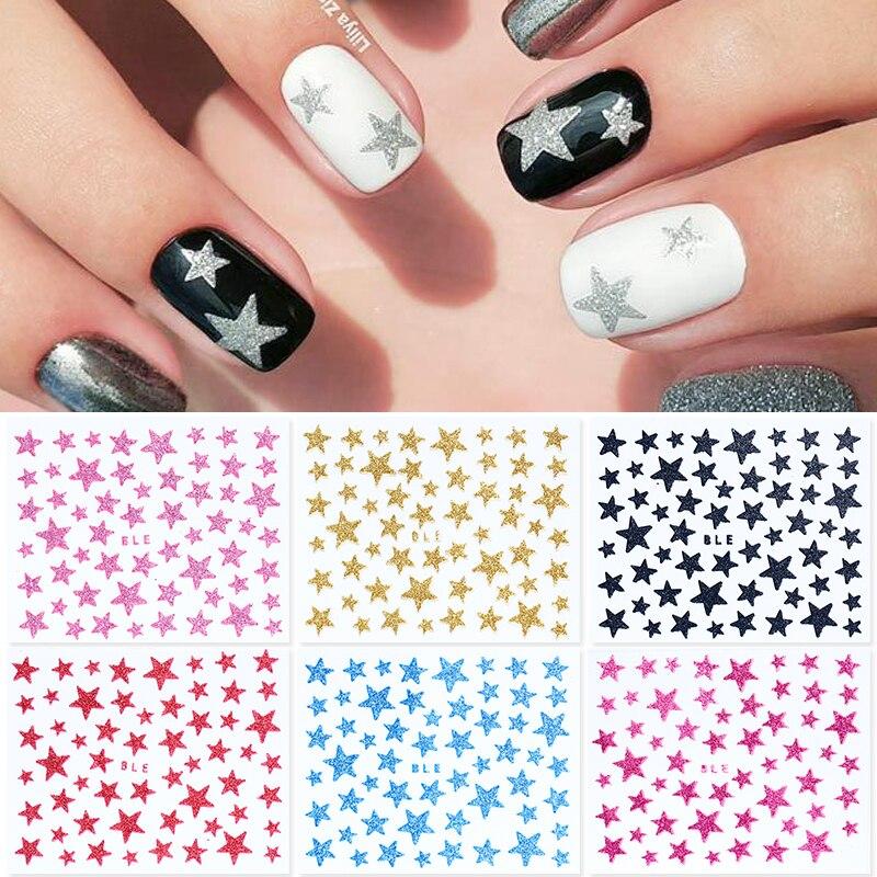 1 лист 3D слайдер для ногтей звезды блестящие украшения переводные наклейки DIY Переводные цветные наклейки для ногтей