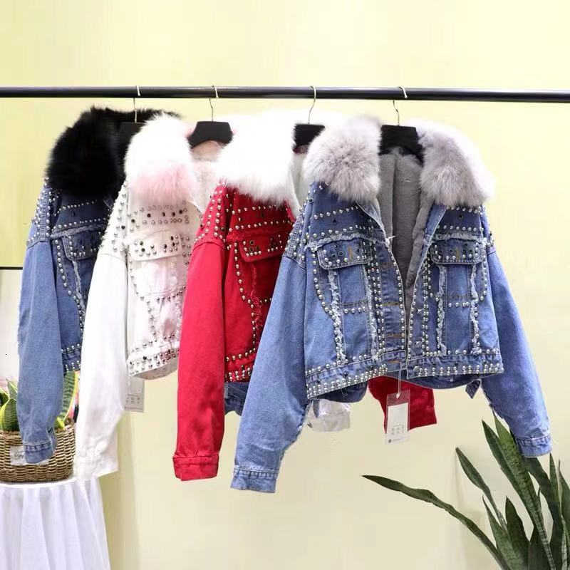 2019 Winter New Real Fox Fur Collar Rivets Thickened Cotton Coat Womens Real Rabbit Hair Liner Short Denim Jacket Girls Student
