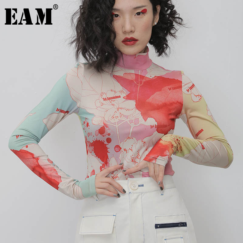 [EAM] Women White Pattern Print Split Temperament T-shirt New Turtleneck Long Sleeve  Fashion Tide  Spring Autumn 2020 1N112