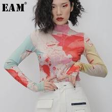 [EAM] Women White Pattern Print Split Temperament T-shirt New Turtleneck Long Sleeve  Fashion Tide  Spring Autumn 2021 1N112