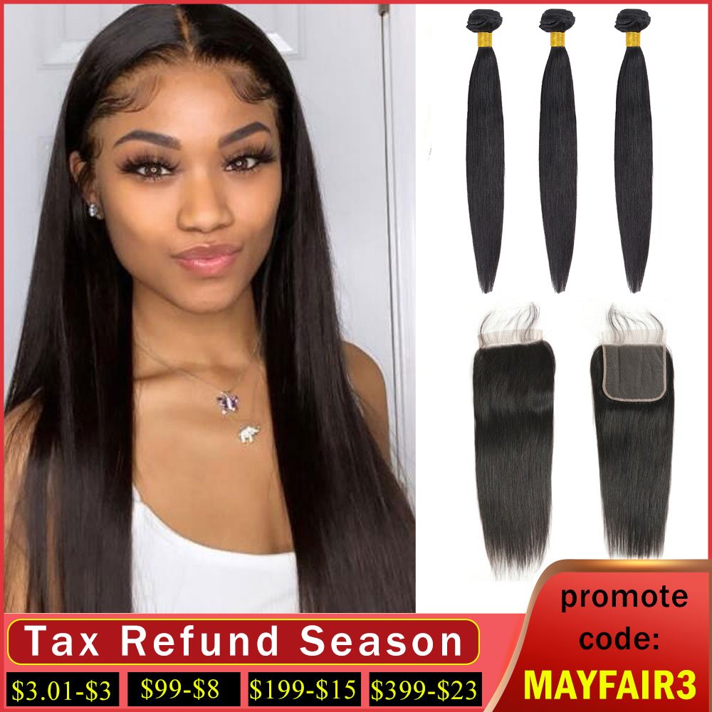 Brazilian Straight Hair Bundles With Closure Non Remy Hair Weave Bundles With Closure Straight Human Hair Bundles With Closure