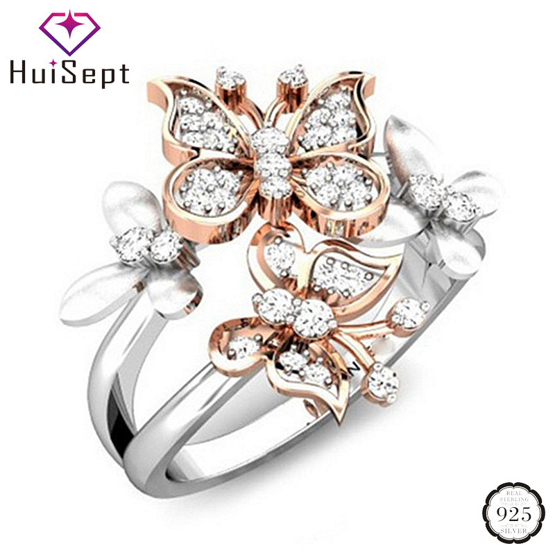 HuiSept Rings 925 Silver Jewelry Double Butterfly Shape Zircon Gemstones Ring for Female Wedding Party Gifts Ornaments Wholesale