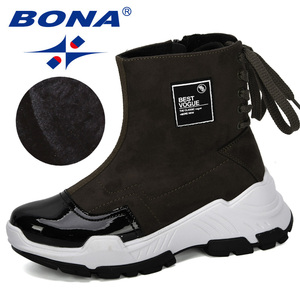 Image 5 - BONA 2019 nowi projektanci mody przypadkowi buty damskie buty skórzane buty grube obcasie buty śniegowce Femme damskie buty wygodne